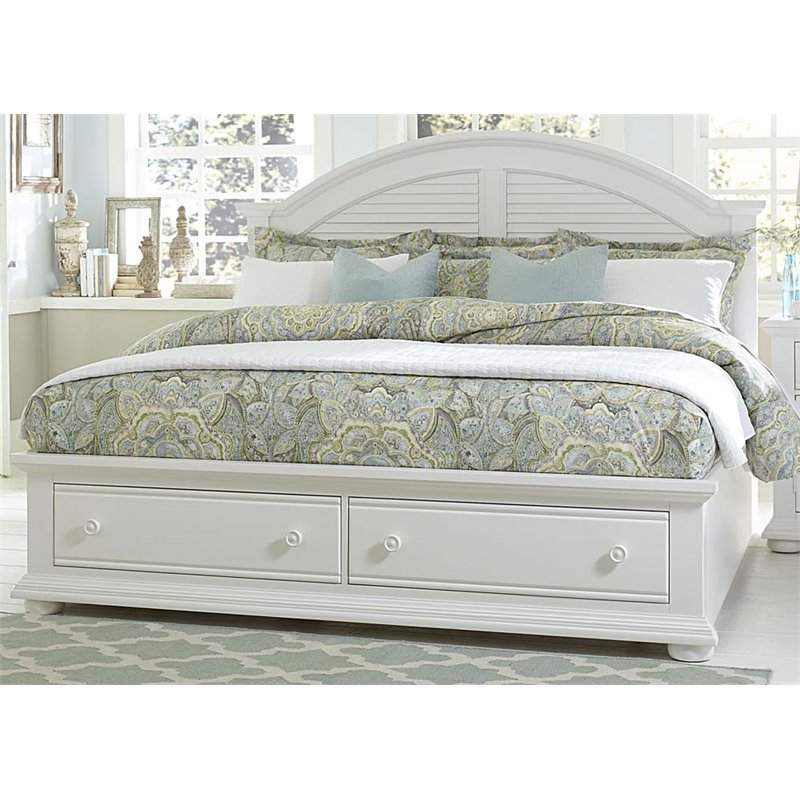 Liberty Furniture Summer House I King Storage Bed in Oyster White