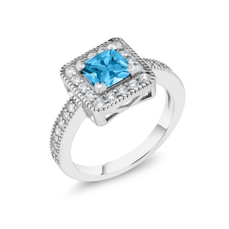 1.00 Ct Princess Swiss Blue Topaz 925 Sterling Silver Ring