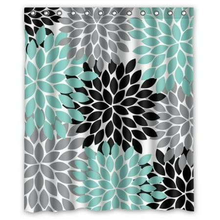 GreenDecor Black Grey Green Dahlia Floral Waterproof Shower Curtain Set with Hooks Bathroom Accessories Size 60x72 inches ()