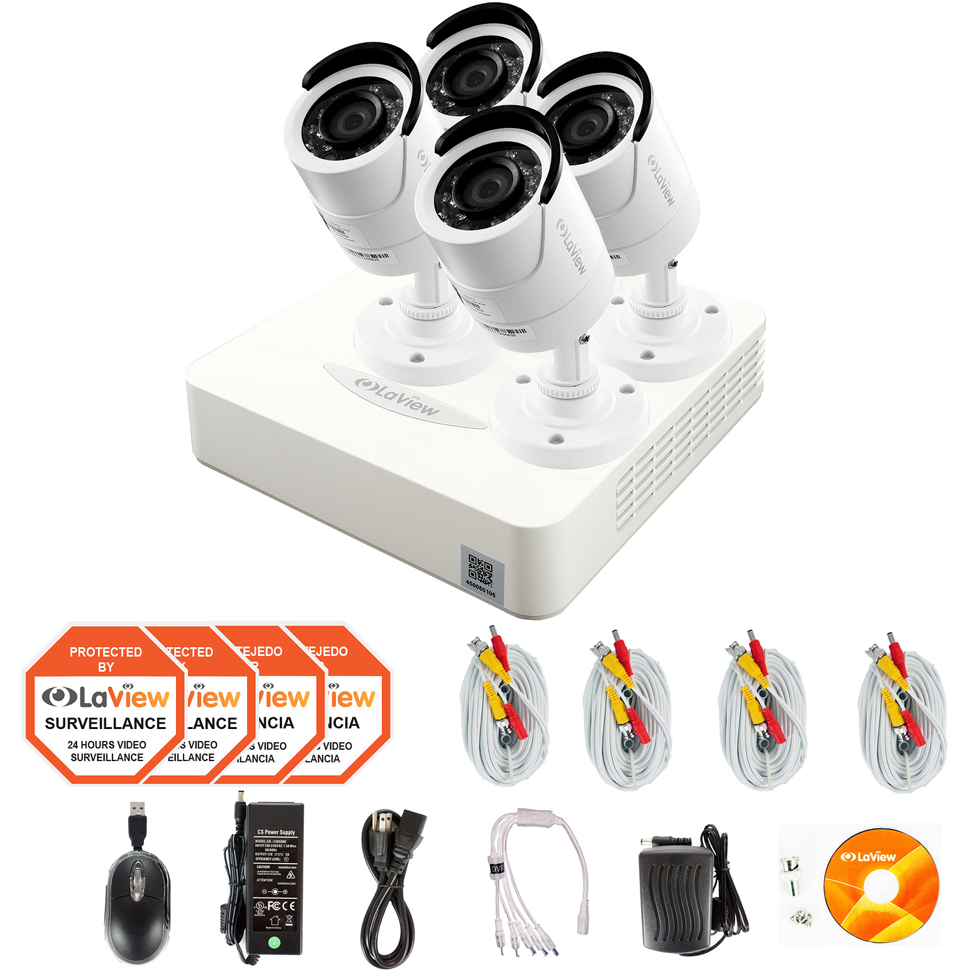 LaView 4 Cameras 4CH Security System 960H DVR with 1TB storage HDMI and 1000TVL HD Security Cameras Surveillance Kit