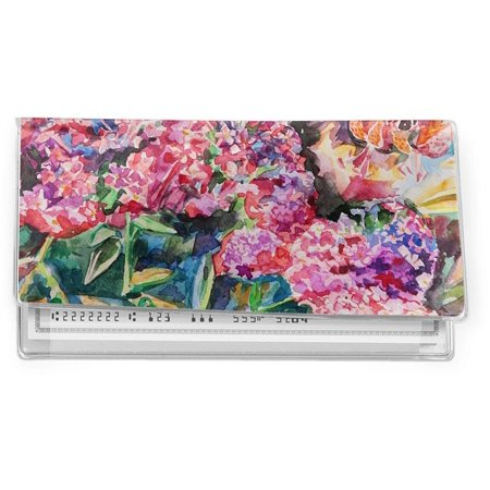 Watercolor Floral Vinyl Check Book Cover, Clear vinyl with your designed insert By RNK Shops