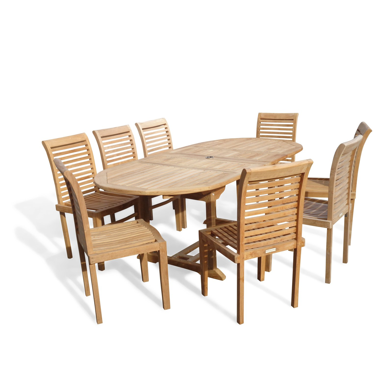 Windsor Teak Furniture Buckingham Grade A Teak 9 Piece Patio Dining Room Set by Windsor Teak Furniture