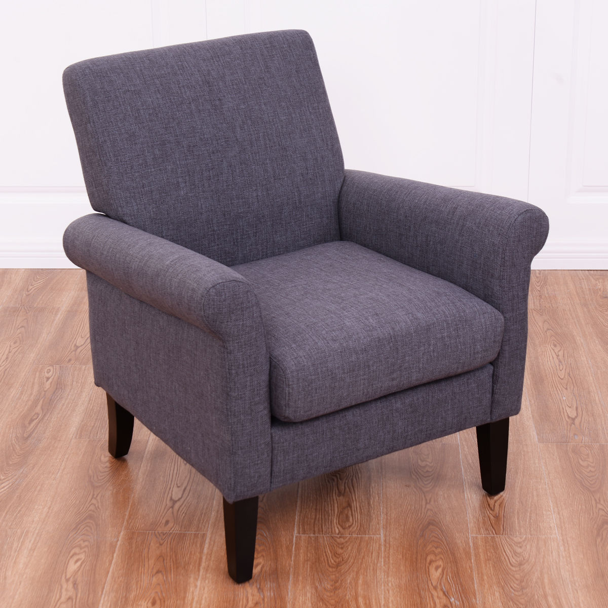 Costway Modern Accent Arm Upholstered Chair Leisure Sofa Seat Fabric Wood  Legs Furniture