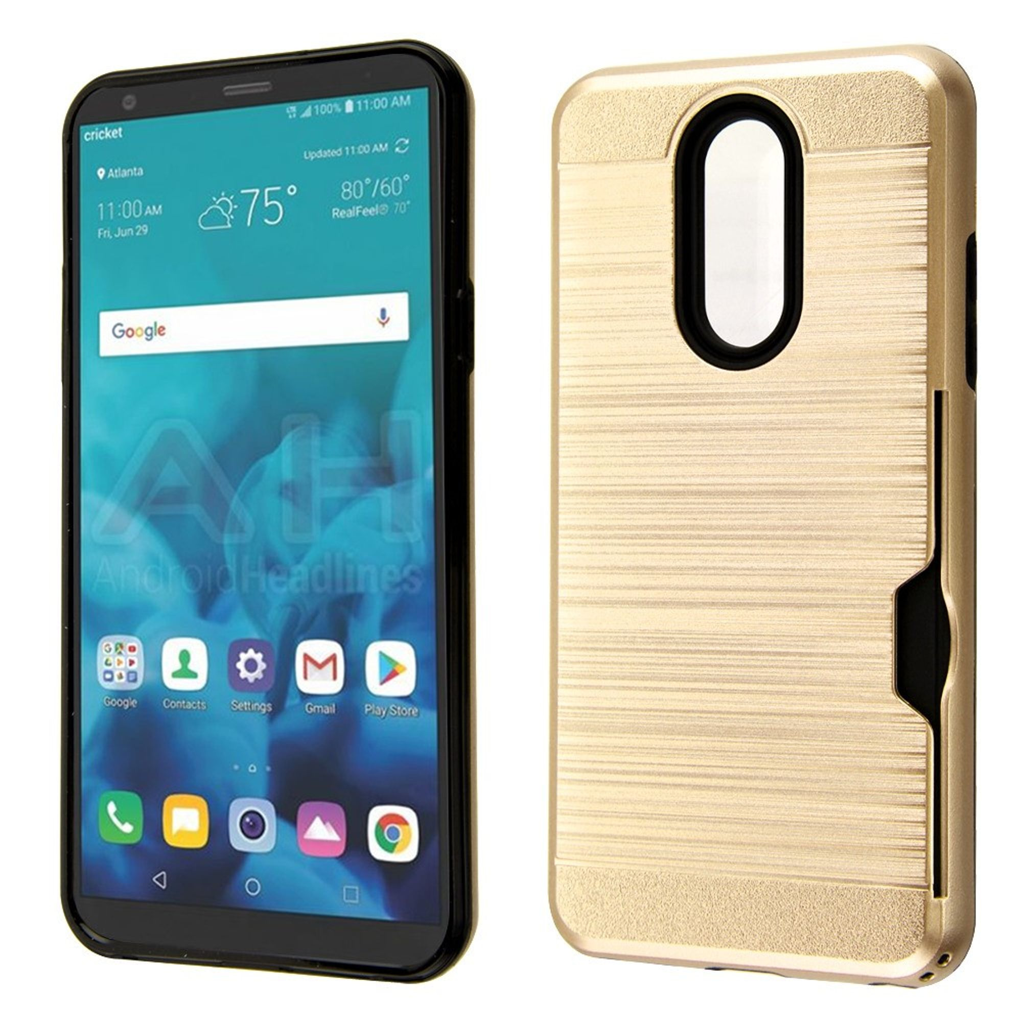 LG Stylo 4 Case, by Insten Dual Layer Hybrid Brushed PC/TPU Rubber ID/Card Slot Case Cover For LG Stylo 4 - Gold/Black