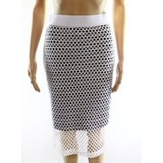 Bobeau NEW White Fishnet Striped Women's Small S Straight Pencil Skirt