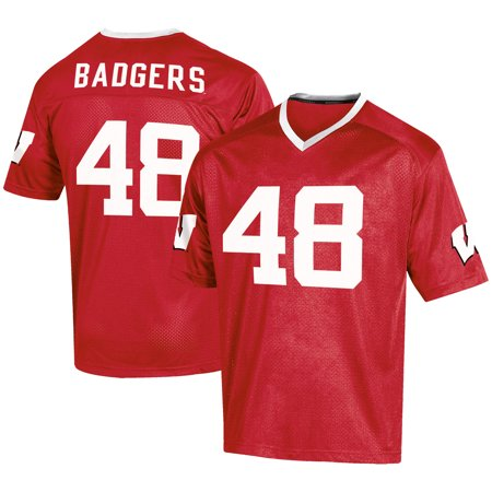 Men's Russell #48 Red Wisconsin Badgers Fashion Football Jersey