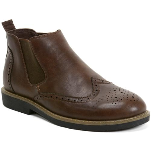 AlpineSwiss Bulle Mens Ankle Boots Chelsea Brogue Medallion Wing Tip Dress Shoes Brown Size 8