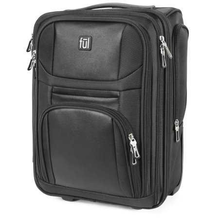 FUL Crosby Carry-On Luggage, Narrow Profile for Under seat Storage, Faux-Leather,