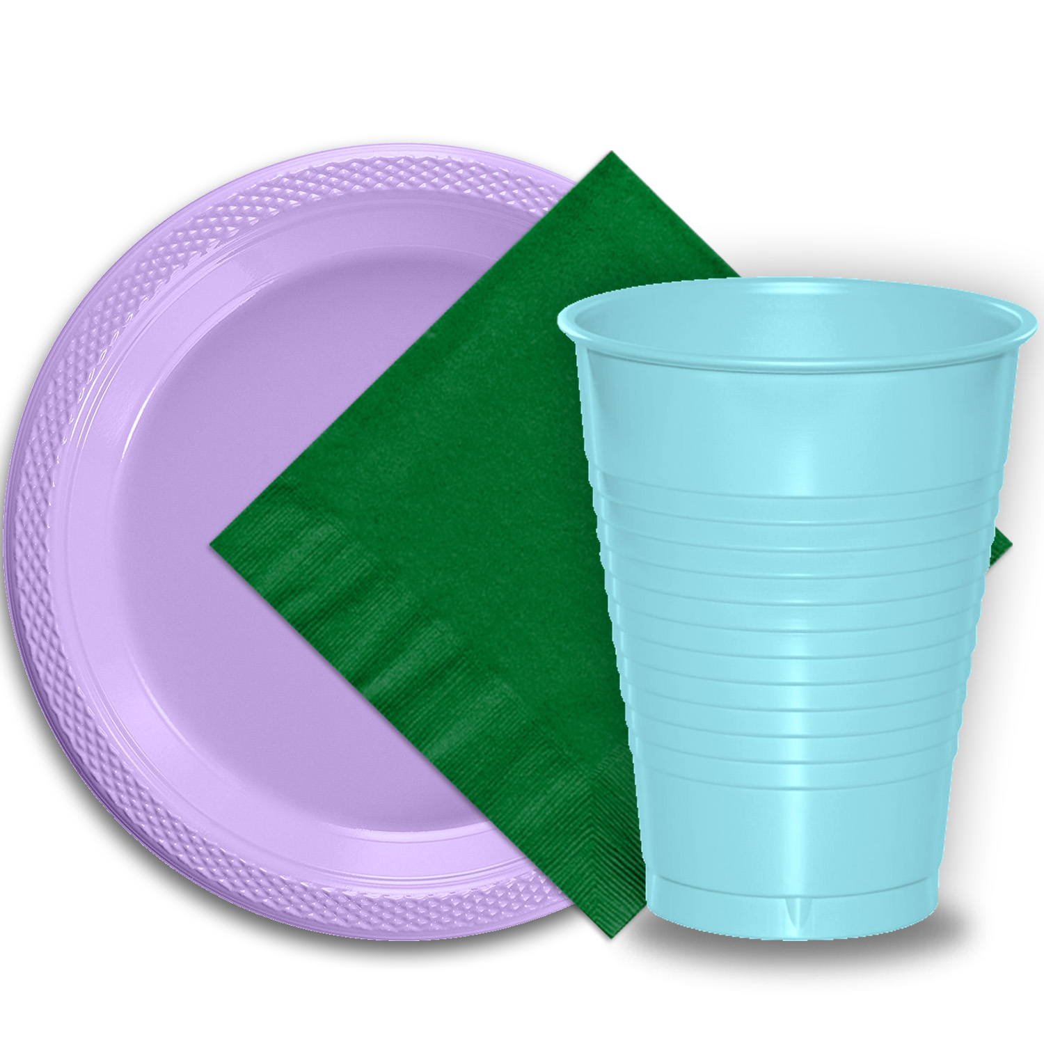 "50 Lavender Plastic Plates (9""), 50 Light Blue Plastic Cups (12 oz.), and 50 Emerald Green Paper Napkins, Dazzelling Colored Disposable Party Supplies Tableware Set for Fifty Guests."