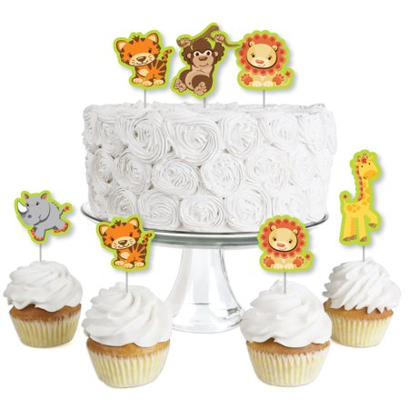 Funfari - Fun Safari Jungle - Dessert Cupcake Toppers - Baby Shower or Birthday Party Clear Treat Picks - Set of 24](Jungle Theme Baby Shower Cake)