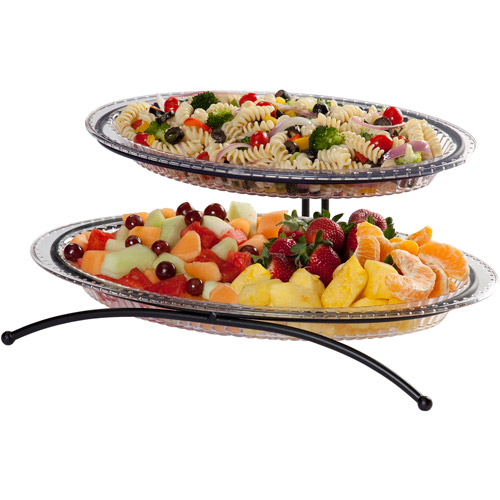 "Creative Bath 2-Tier 15"" and 18"" Buffet Platter Set, 3-Piece Set"