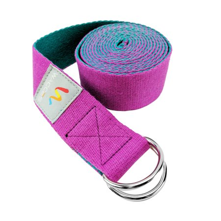 Wacces D-Ring Buckle Cotton Yoga Straps Bands - Best for Stretching - Rose, Turquoise - 8