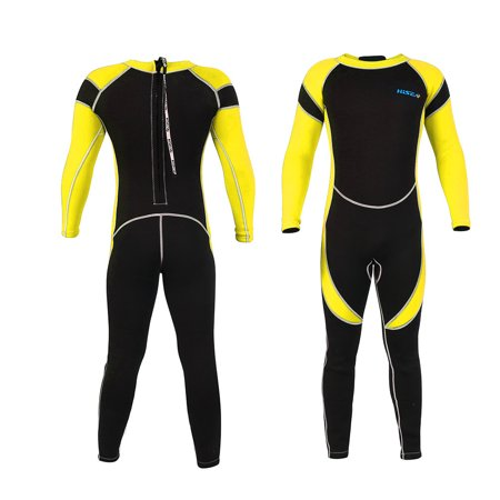 Flexible Kids Wetsuit (WALFRONT One-piece Diving Suit, Kids Neoprene Scuba One-piece Diving Snorkeling Wet Suit Long Sleeve Surfing Swimwear, Neoprene Wetsuits for Kids Boys Girls, Kids Diving Swimwear Yellow )