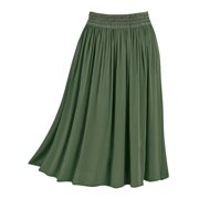 Easy-Fit Crinkle Skirt, Pull-On with Embroidered Waist, Stretchy, Solid Colors