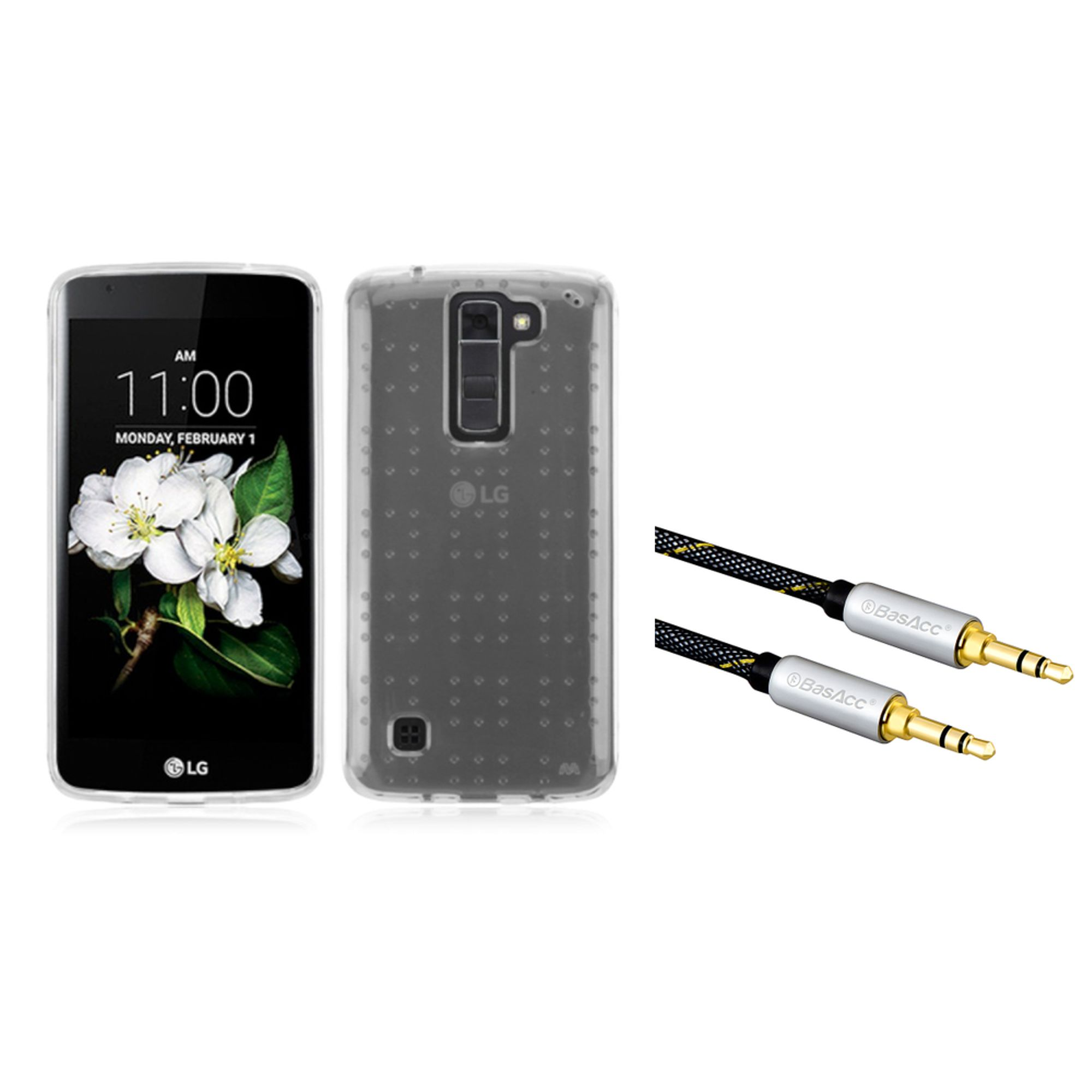 Insten Gel TPU Rubber Skin Case For LG K7 - Clear (with 3.5mm Aux Auxiliary Audio Stereo Extension M/M Cable)