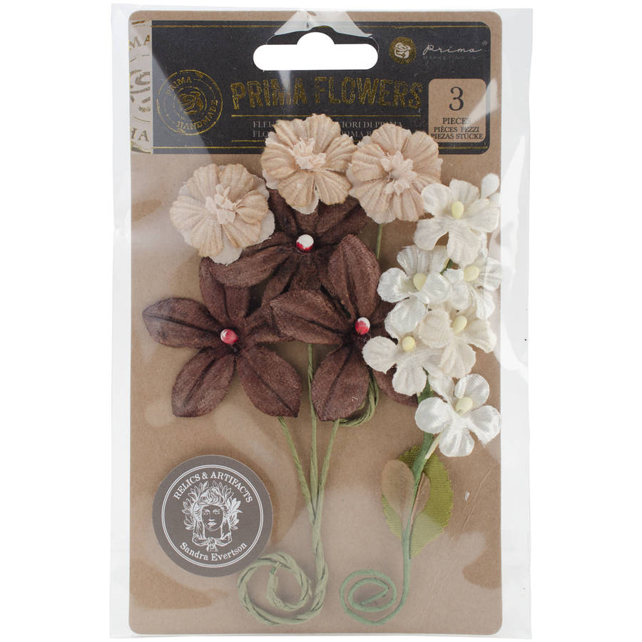 """Relics & Artifacts Fabric Flowers, 4.25"""" x 4.75"""", 3pk, Coco Bean Corsages"""