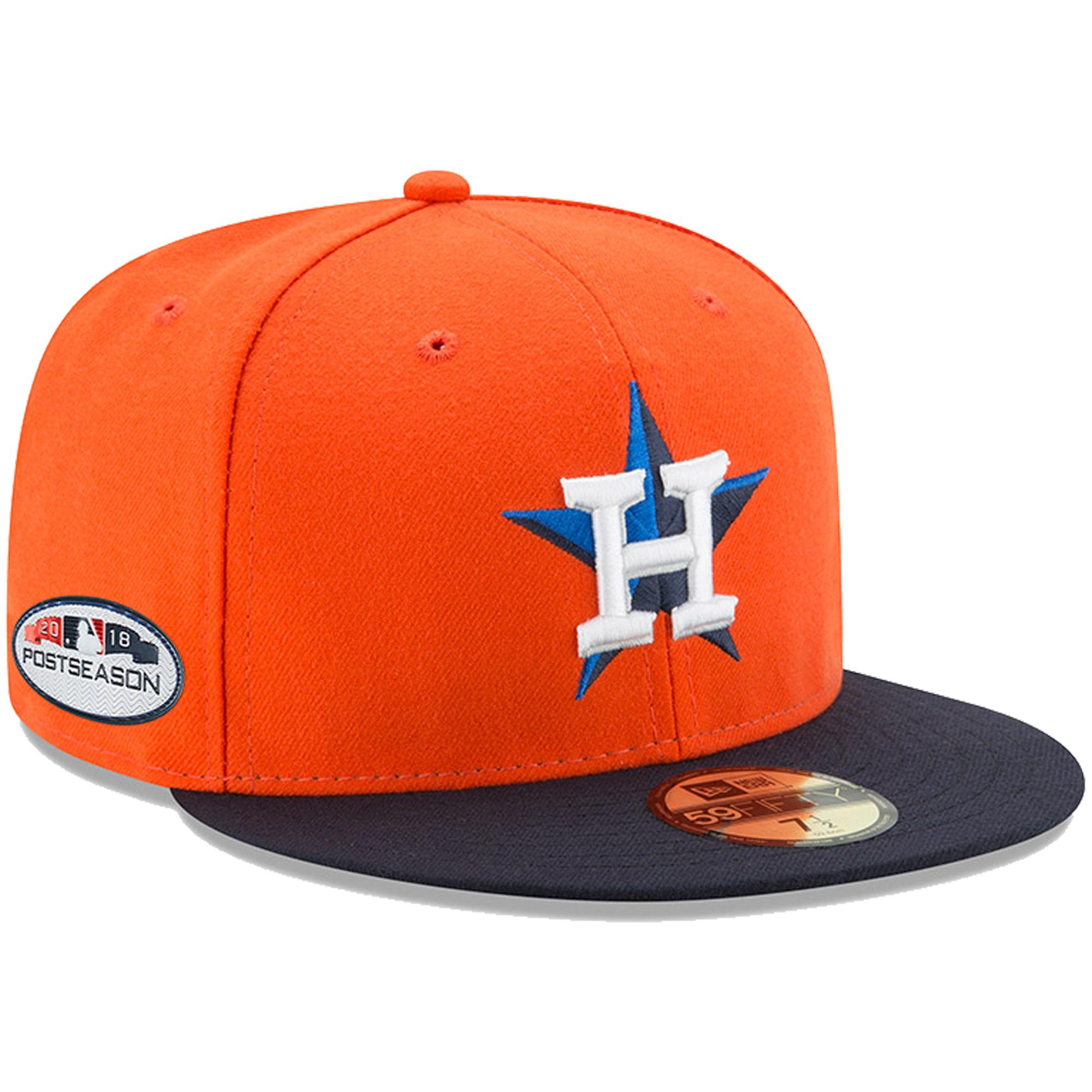 Houston Astros New Era 2018 Postseason Side Patch 59FIFTY Fitted Hat - Orange