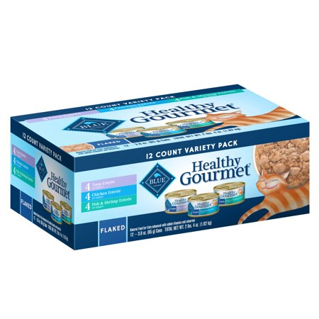 (12 Pack) Blue Buffalo Healthy Gourmet Variety Pack Wet Cat Food, Flaked Tuna, Fish & Shrimp & Chicken, 3 oz.
