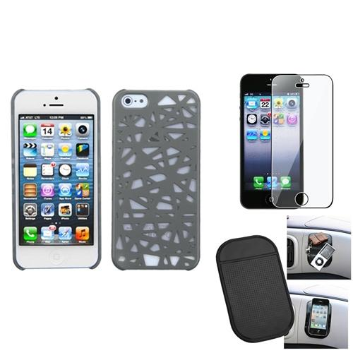 Insten Film Mat Gray Bird Nest Mesh Hard Case Cover For Apple iPhone 5 5S