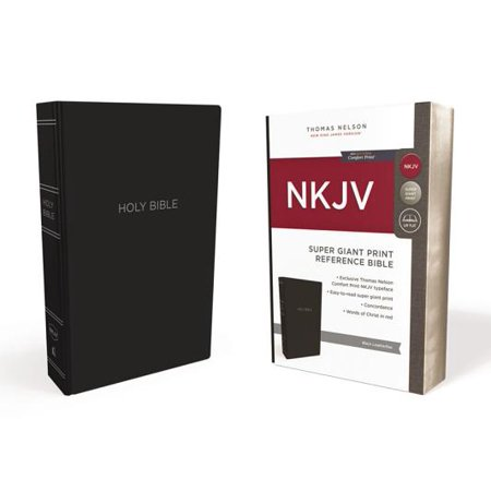 NKJV, Reference Bible, Super Giant Print, Leather-Look, Black, Red Letter Edition, Comfort Print