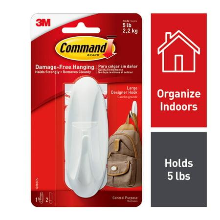 Command Designer Hook White Large 1 Hook 2 Strips Pack