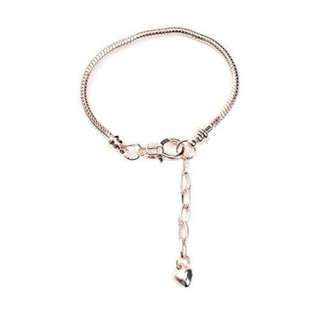 "Sexy Sparkles 7 4/8"" European Snake Chain Charm Bracelet Rose Gold Plated Lobster Claw Clasp And Extender Chain"