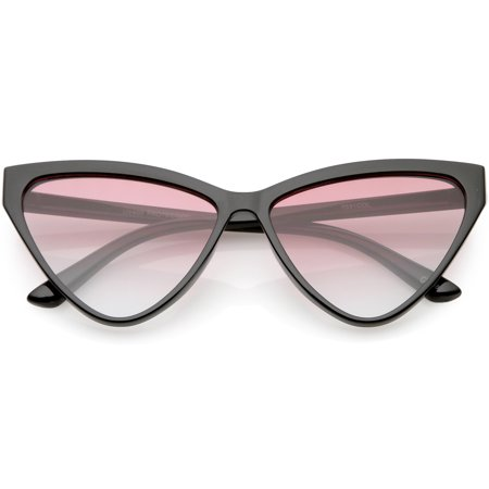 Oversize Vintage Cat Eye Sunglasses Color Tinted Lens 59mm (Black / Pink (Gradient Tint Sunglasses)