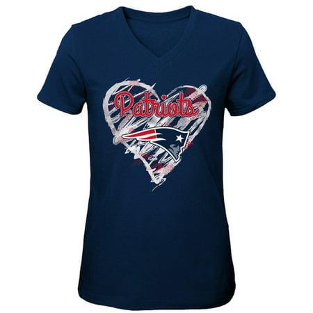 Girls Youth Navy New England Patriots Heart V-Neck T-Shirt