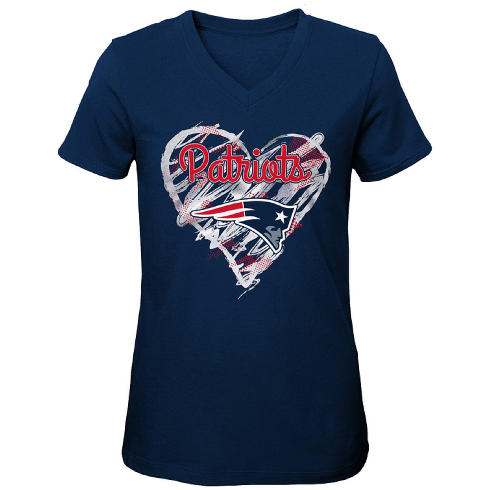 Girls Youth Navy New England Patriots Heart V-Neck T-Shirt