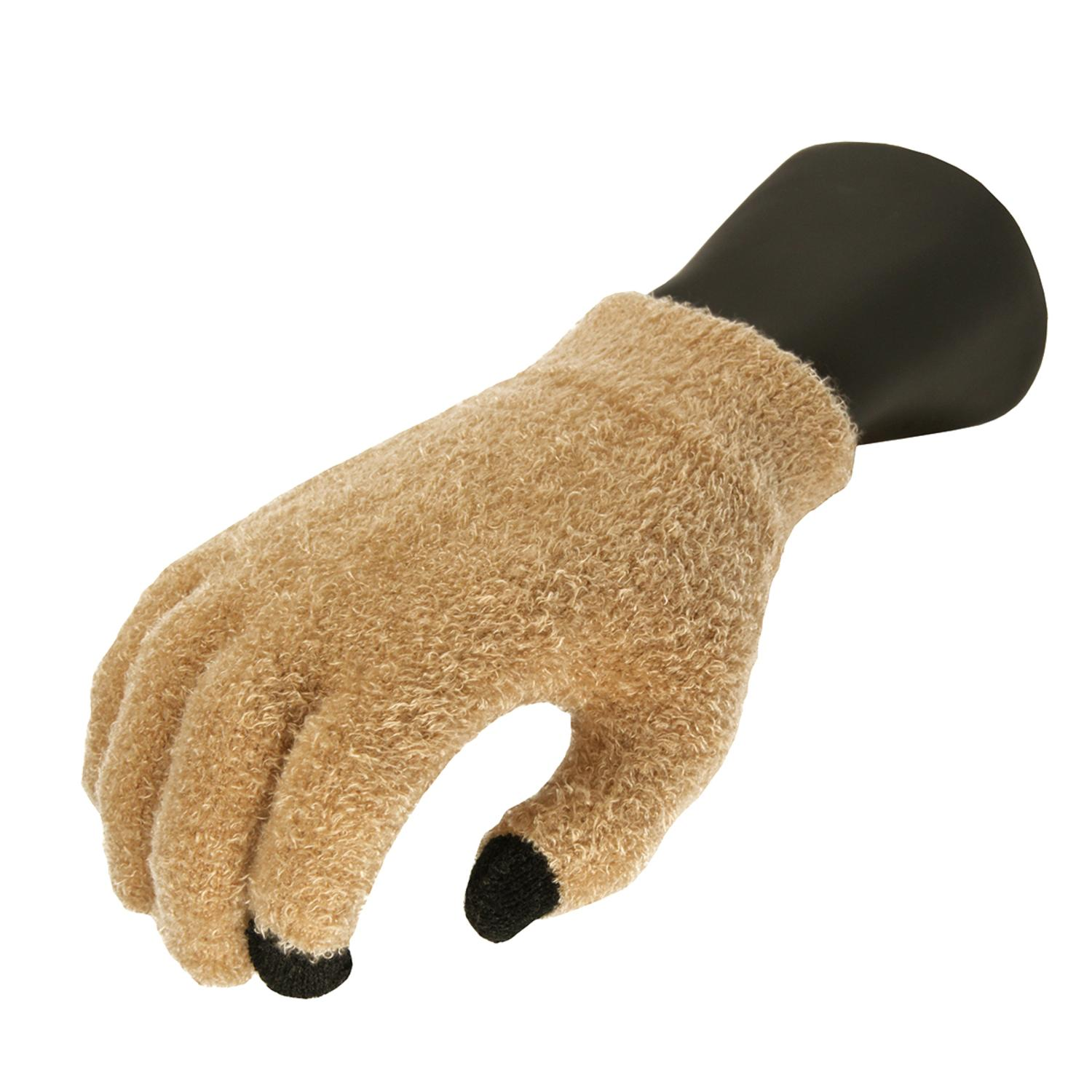 Women's Light Khaki Aloe Vera Plush Winter Touchscreen Gloves - One Size