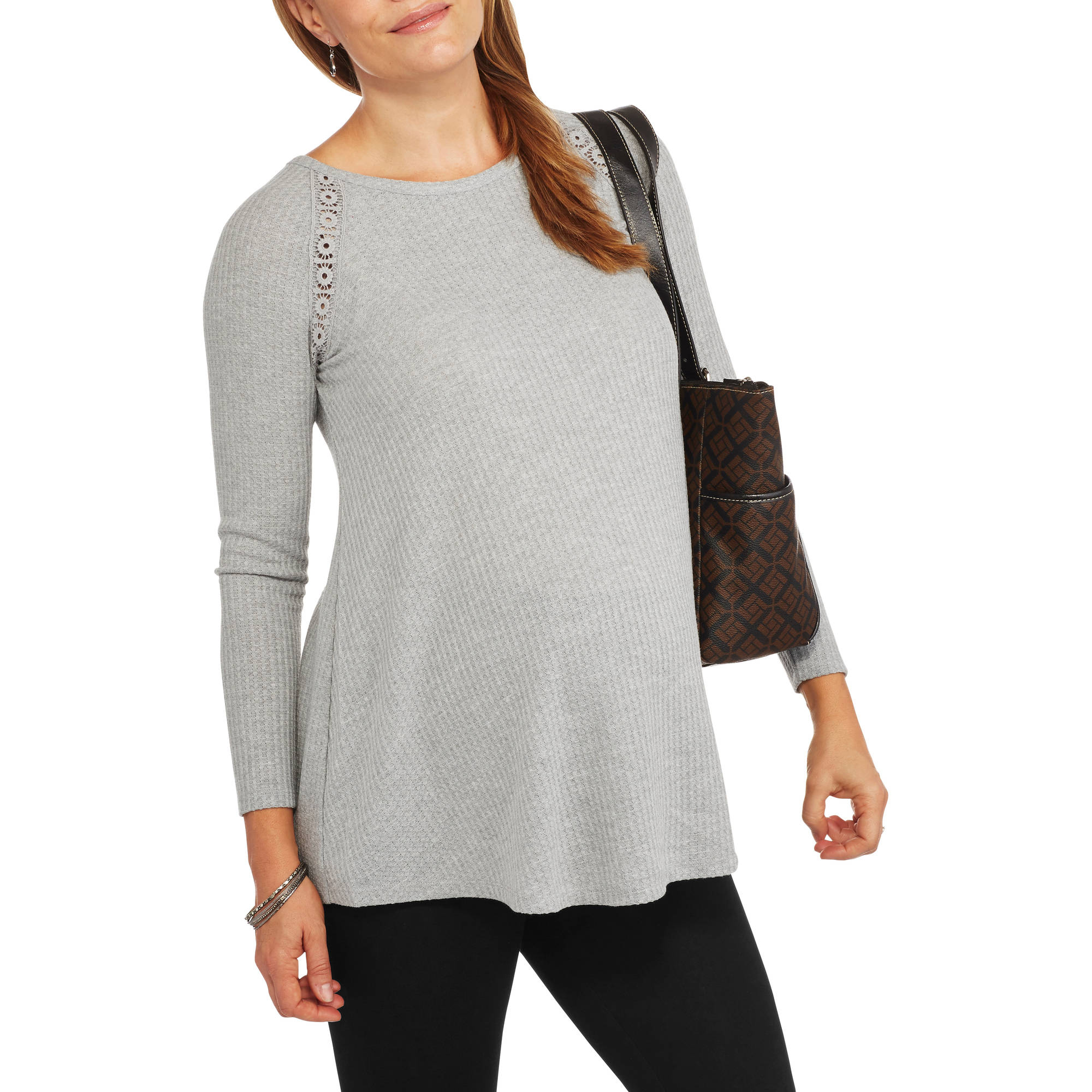 Faded Glory Maternity Fashion Thermal Tunic with Lace Back
