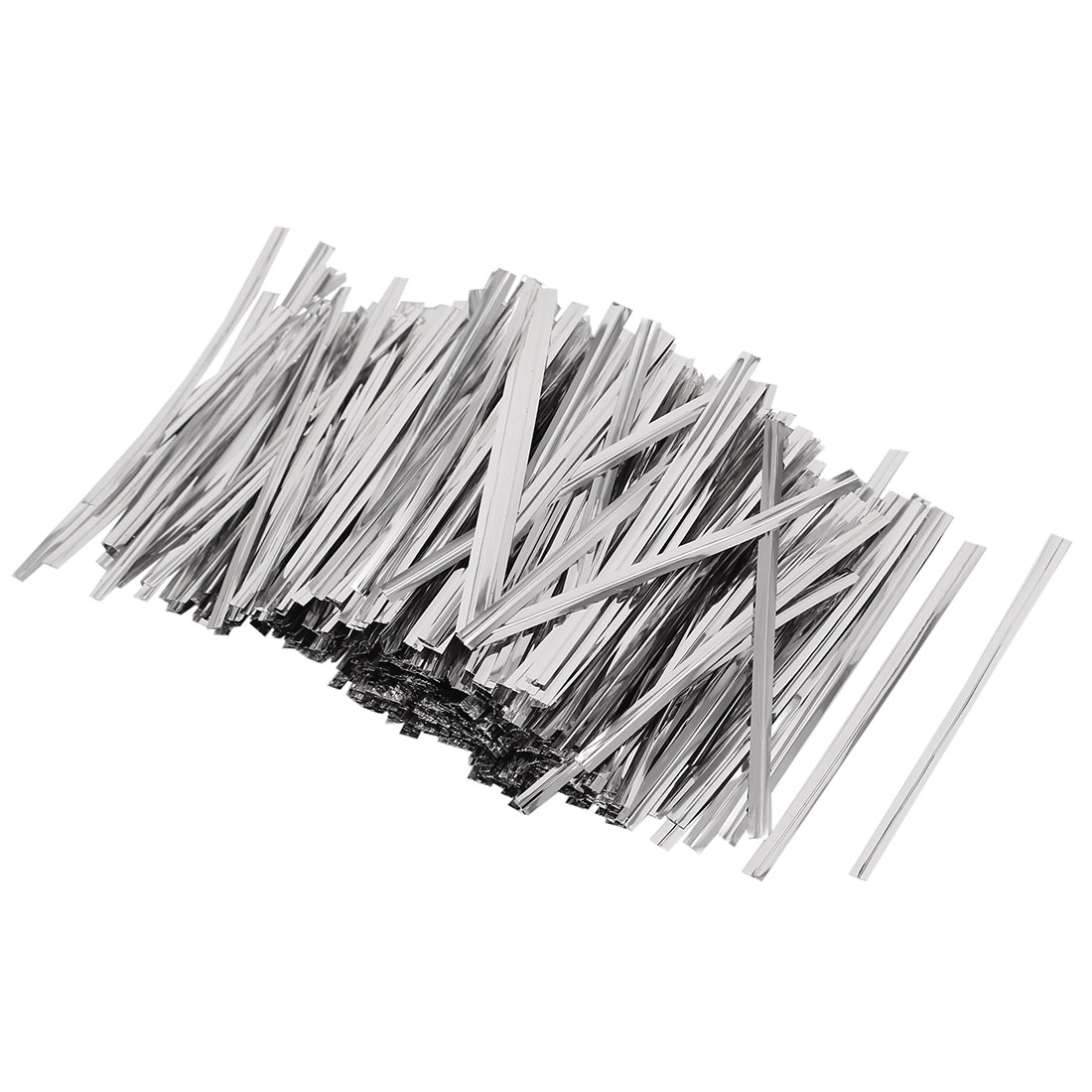 2400 Pcs Silver Tone 8cm Length Candy Bread Bags Packaging Twist Cable Tie