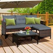 Gymax 3PCS Outdoor Rattan Furniture Set Patio Couch Sofa Set w/ Cushion