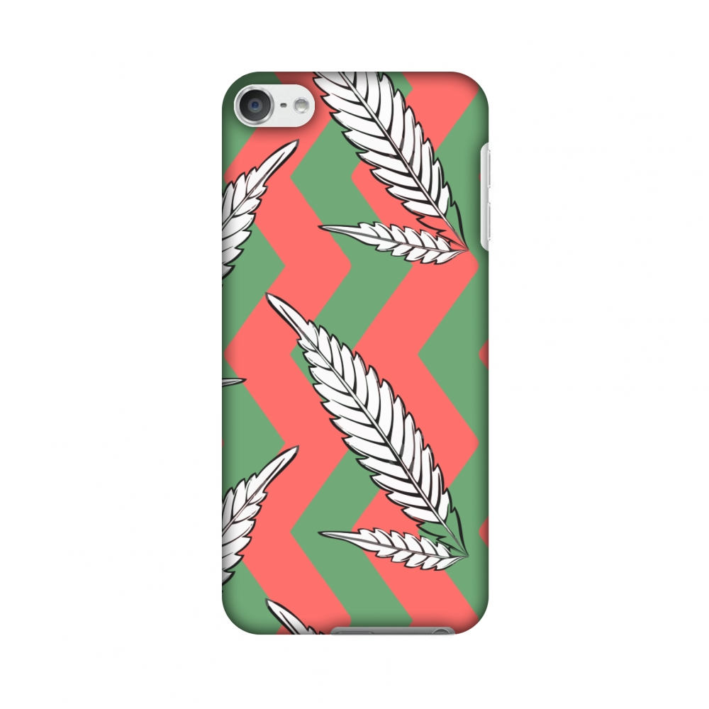 iPod Touch 6th Gen Case - Along The Chevron - Pink and Green, Hard Plastic Back Cover, Slim Profile Cute Printed Designer Snap on Case with Screen Cleaning Kit