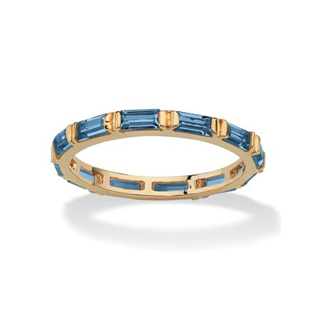 Baguette-Cut Birthstone Eternity Stack Ring 14k Gold-Plated - March- Simulated Aquamarine