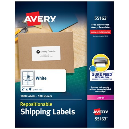 Avery Repositionable Shipping Labels, Sure Feed Technology, Repositionable Adhesive, 2