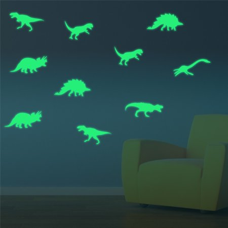 Micelec 9Pcs Glow in the Dark Dinosaur Creative Fluorescent Wall Sticker Kids Room Decor