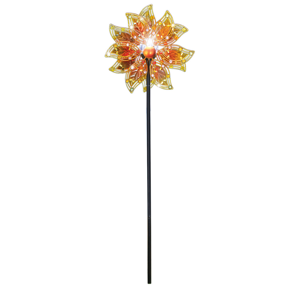 Double Glass Leaves Solar Wind Spinner Decorative Garden Stake, Lighted Outdoor Décor by Collections Etc