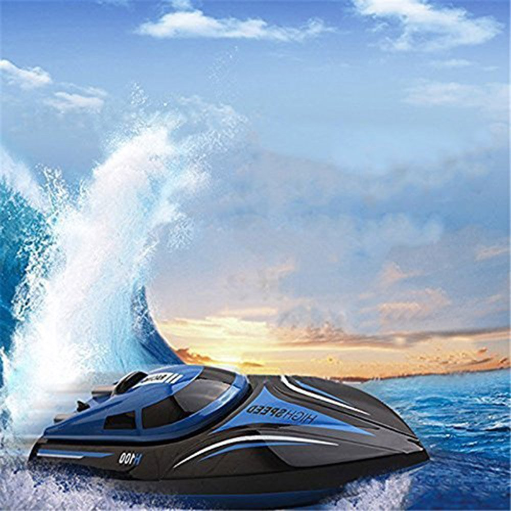 Virhuck Rc Boat, H100 2.4G 4CH Remote Control Boat With High Speed(Only Work In The Water) With Two Batteries