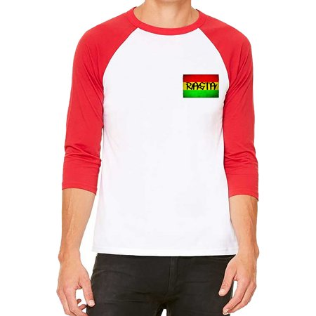 Unisex Chest Rasta Flag White/Red C5 3/4 Sleeve Baseball T-Shirt 2X-Large Chest Padded Baseball Shirt