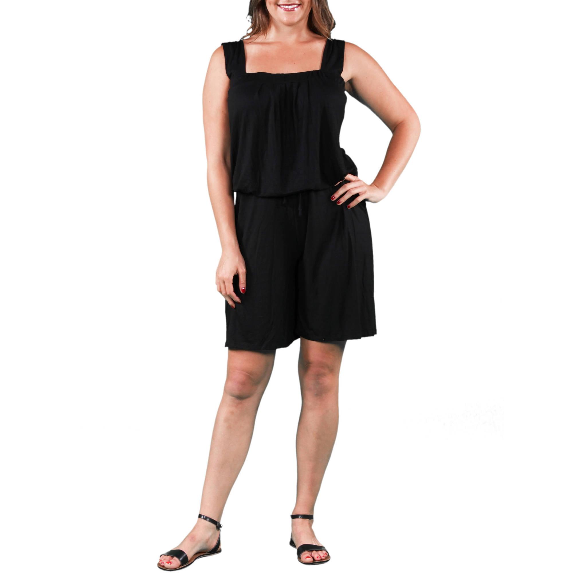 24/7 Comfort Apparel Women's Plus Size Tank and Short Jumpsuit