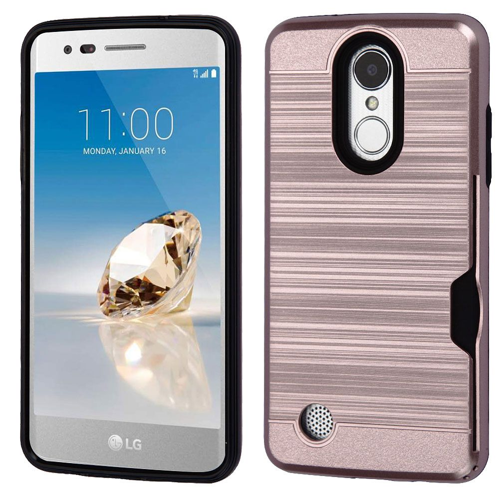 Insten Brushed Hybrid Case (with Card Wallet) For LG Aristo/Fortune/K8 (2017)/Phoenix 3 - Rose Gold/Black (+ USB Cable)