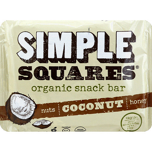 Simple Squares Coconut Organic Snack Bar, 1.6 oz, (Pack of 12)