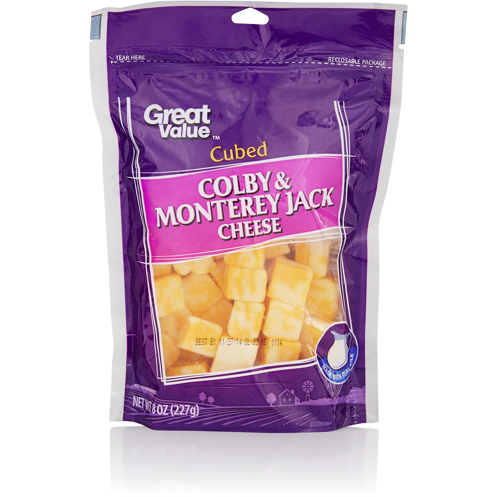 Great Value Cubed Colby & Monterey Jack Cheese, 8 oz