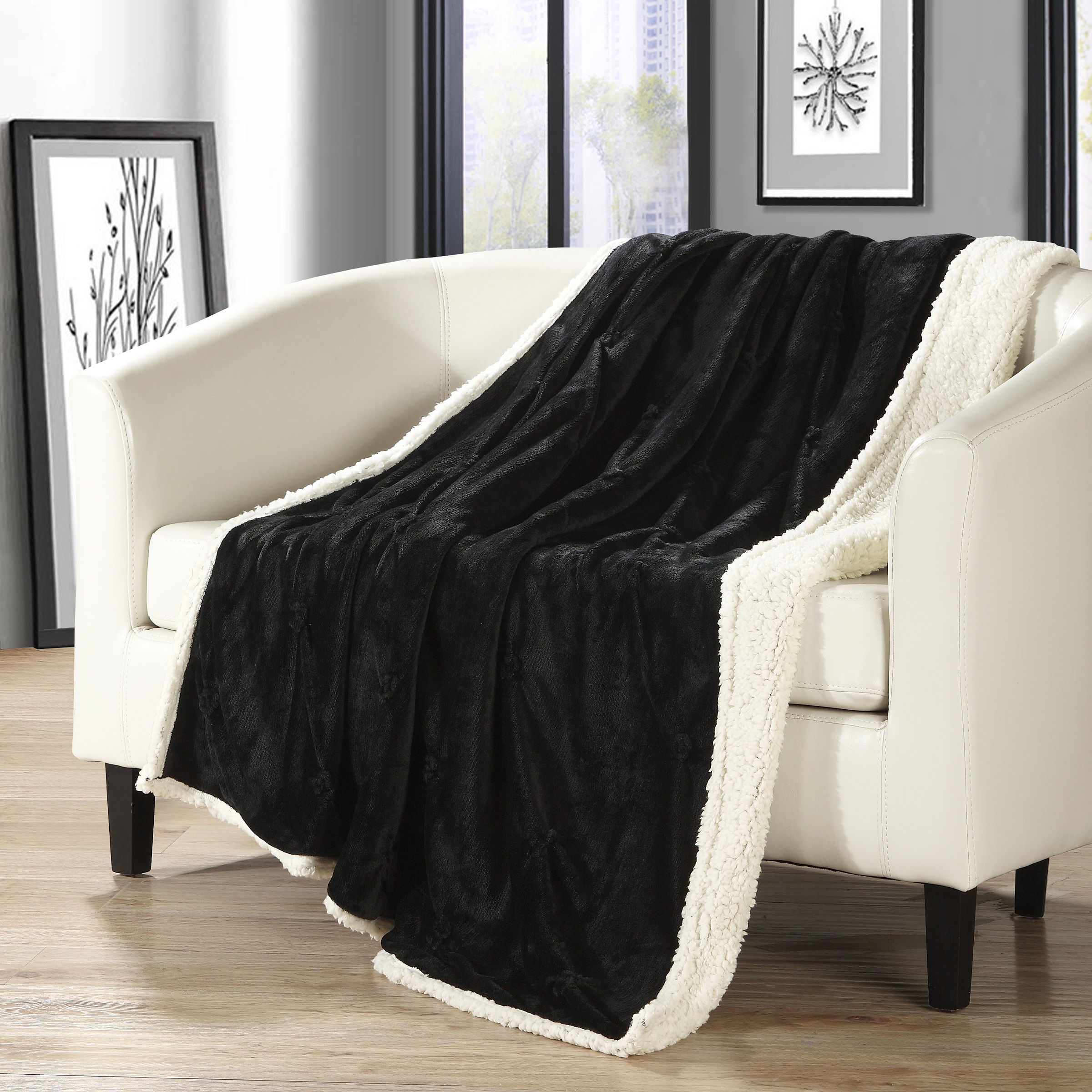 Chic Home 1-Piece Barbuda Pinch Pleated Throw Blanket Sherpa Blanket