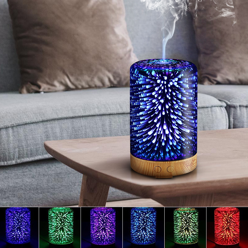100ML 3D Glass Aromatherapy Oil Diffuser Cool Mist Humidifier Color Changing Ultrasonic Air Humidifier Starburst Night Lights For Home Office 110V/220V