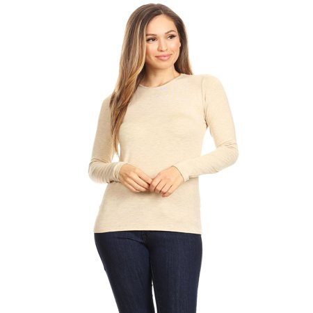 Basic Fit Tee - MOA COLLECTION Women's Solid Basic Casual Lightweight Relax Fit Long Sleeve T-Shirt Top Tee/Made in USA