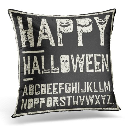ECCOT Black Creepy Happy Halloween Alphabet Grunge Stamp Letters Scary Bats Graves Pumpkins White Horror Pillowcase Pillow Cover Cushion Case 16x16 inch