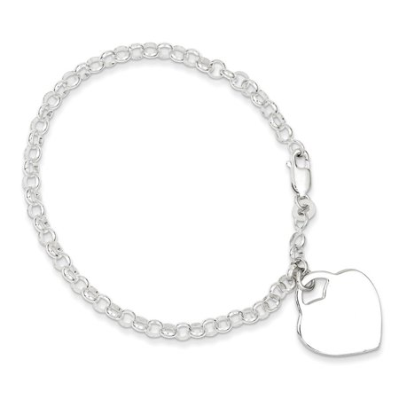 Sterling Silver 7in Engraveable Heart Charm Bracelet (Heart Charm Bracelet)