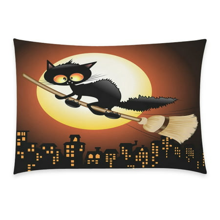 ZKGK Happy Halloween Cute Black Cat Lovely Moon Cartoon Home Decor Pillowcase 20 x 30 Inches, Night Moon Cat Flying on Witch Broom Pillow Cover Case Shams Decorative](Cute Halloween Witch Clip Art)